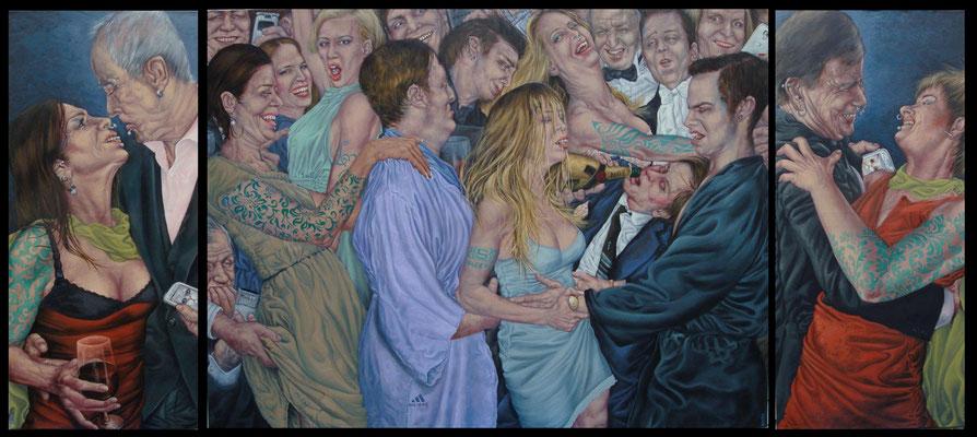 Gemälde  441 , Dancefloor   Acryl auf Leinwand - Triptychon,2013,  120 x 270 cm