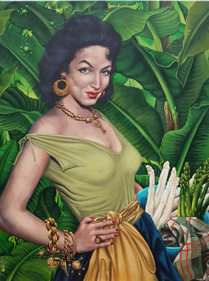 Gemälde 610, Dschungel Spargel, Acryl auf Leinwand, 2019,60 x 80 cm