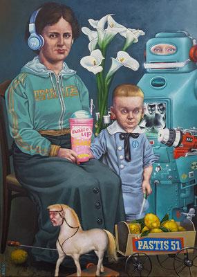 Gemälde 586, Bubble up  Acryl /  Öl auf   Leinwand   2018 , 65 x 90   cm
