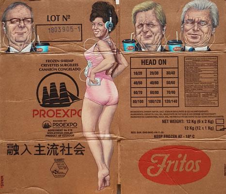 Gemälde 593, Proexpo,Acryl auf Pappe / Verpackungskarton,   2018 ,55 x 63 cm