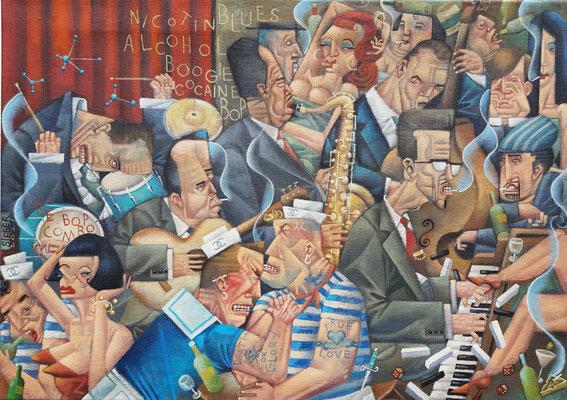 Gemälde682,CHANEL MATROSEN ARMDRÜCKEN IN DER BE BOP KASCHEMME,Acryl auf grober Leinwand,2021,50 x 70cm