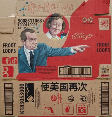 Gemälde 691 FROOT LOOPS,  Acryl auf Verpackungspappe, 2021, 58 x 55 cm