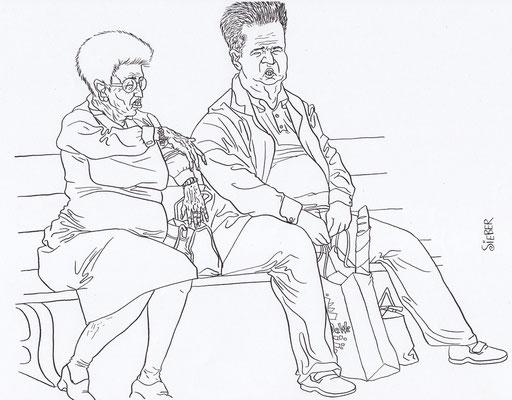 Zeichnung 168  Mutter & Sohn    Tusche auf Karton,2009,   30 x 40 cm