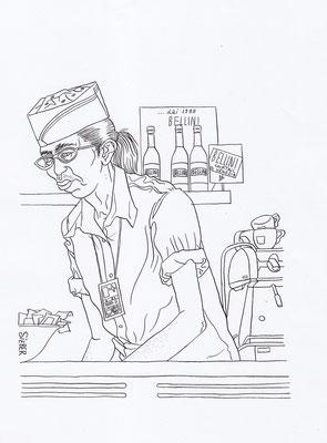 Zeichnung 100   Airport Snack  Tusche auf Karton,2008,   30 x 40 cm