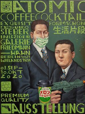 Gemälde 662, ATOMIC COFFEE COCKTAIL, Acryl auf Hartfaserplatte,2020,60 x 80 cm