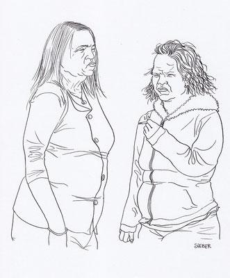 Zeichnung 174  Frauen    Tusche auf Karton,2009,  30 x 40 cm
