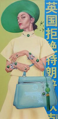Gemälde 574,Dangerous Green , Acryl auf Leinwand, 2017 / 2020,55 x 110 cm