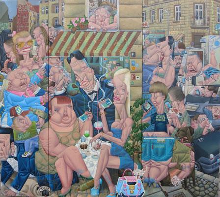 Gemälde 542Triptychon, Fleischklops Royal, Acryl auf Leinwand,2016, 155x 140 cm