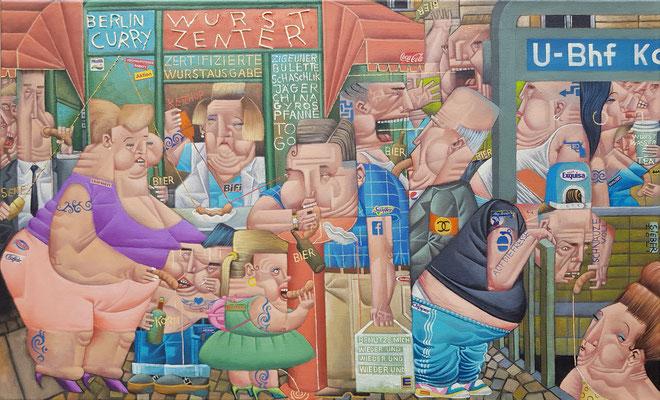 Gemälde 696, WURST ZENTER , Acryl /mixed media auf Leinwand, 2021, 55 x 90  cm