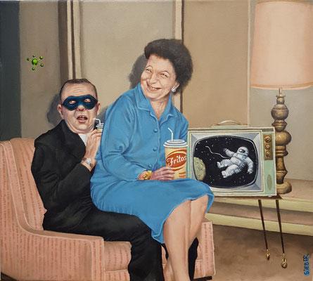 Gemälde 580 , Fritos, Acryl auf Leinwand,2017, 45 x 50 cm