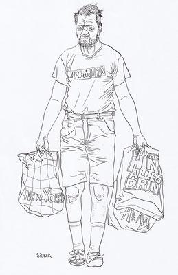 Zeichnung 218  1,2,3 McCain  Tusche auf Karton2009,   30 x 40 cm