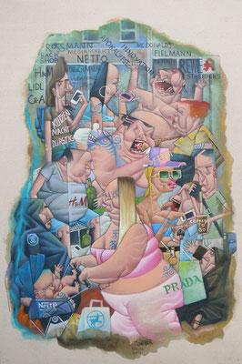 Gemälde 534 In der Zone, Acryl / Kreide auf Leinwand, 2016, 40 x 60 cm