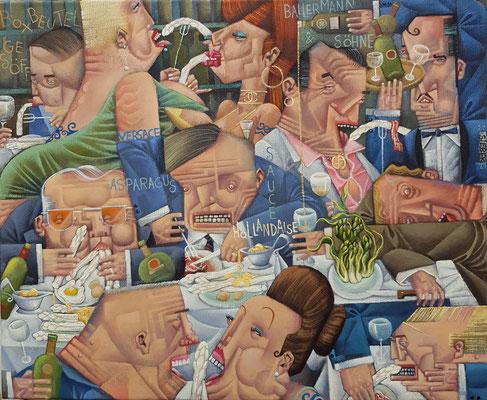 Gemälde 692,SPARGELSAUCE , Acryl auf Leinwand, 2021,45 x 55  cm