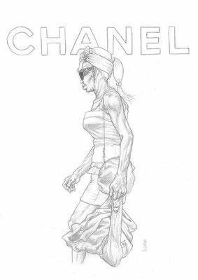 Zeichnung 436  Chanel  Graphit auf Karton,2011,  30x42 cm436