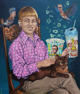 Gemälde 557 ,Junge mit Katze, Acryl / Öl auf Leinwand, 2017 / 18, 85 x 100 cm