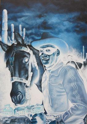 Gemälde 514, Silver & Lone Range, Acryl auf Leinwand,2016, 70 x1 00 cm