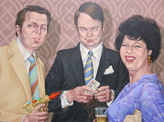 Gemälde 490,Bandsalat, Acryl auf Leinwand ,2015, 90 x 120 cm