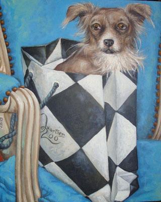 Gemälde 431,  Taschenhund 3  Acryl auf Leinwand,2013,   40 x 50 cm