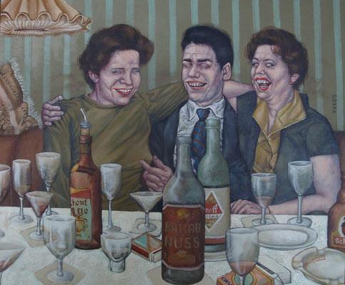 Gemälde 413  Feuchtfröhlich , Acryl auf Hartfaserplatte,2012,   50 x 60 cm