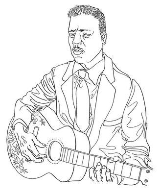 Zeichnung 125  Blind Willie Johnson  Tusche auf Karton,2009, 25 x 32,5 cm
