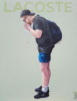 Gemälde 600, LACOSTE  ,Acryl auf Hartfaserplatte,   2018 , 40x 30 cm