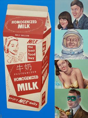 Gemälde 609,Enjoy Milk, Acryl auf Leinwand, 2019, 105 x 140 cm