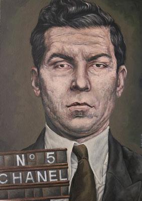 Gemälde  477, Lucky with Chanel , Acryl auf Hartfaserplatte ,2014, 50 x 70 cm