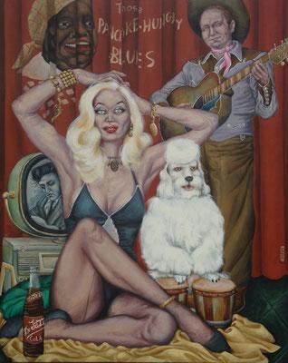 Gemälde 380Bongo Poodle Blues  Acryl auf Leinwand,2010, 80 x 100 cm