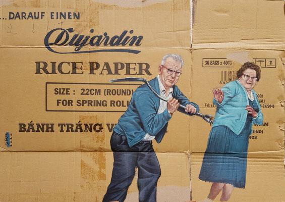 mälde 666, DUJARDIN  ,Acryl auf Verpackungskarton,2020, 49 x 70 cm cm