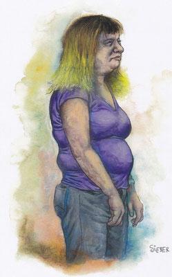 Zeichnung 203  Dicke Dinger  Aquarell, Kreide und Acryl,2009,   24 x 34 cm
