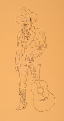 Zeichnung 129 Gene Autry , Tusche auf Karton, 2009, 30 x 50 cm