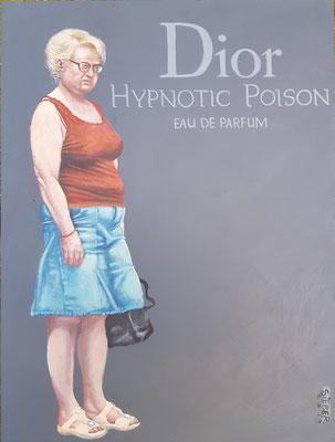 Gemälde 636,DIOR HYPNOTIC POISON, Acryl auf Hartfaserplatte,2019, 30 x 40 cm