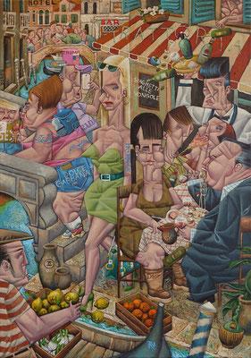 Germälde 530, Vongole ,Acryl auf Leinwand, 2016, 55 x 80 cm