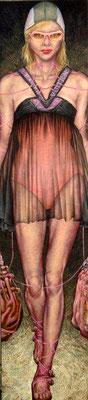 Gemälde 405, Model Acryl auf Leinwand,2011,  60 x 220 cm