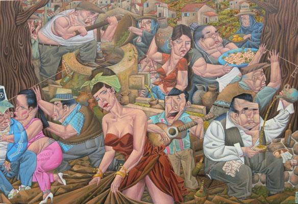 Gemälde     521. Olivenernte , Acryl auf Leinwand,2016, 80 x 116 cm