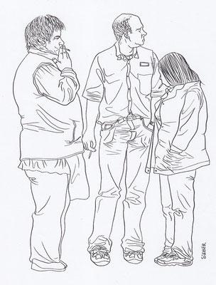 Zeichnung 173  Raucherpause  Tusche auf Karton,2009,   30 x 40 cm