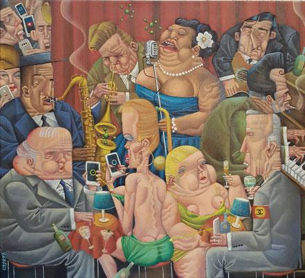 Gemälde 615, Kein Empfang in der Jazz Kaschemme, Acryl auf Leinwand, 2019, 55 x 50 cm