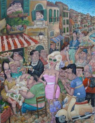 Gemälde  437 Cha Cha Italiano     Acryl auf Leinwand,2013,   100 x 130 cm
