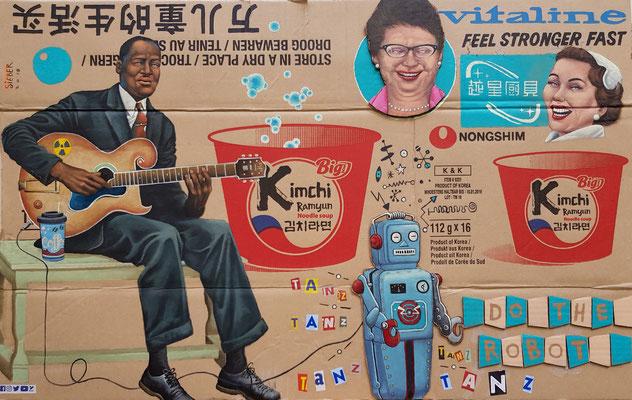 Gemälde 601 ,Kimchi, Acryl auf Pappe/ Verpackungskarton, 2018, 50 x 79 cm