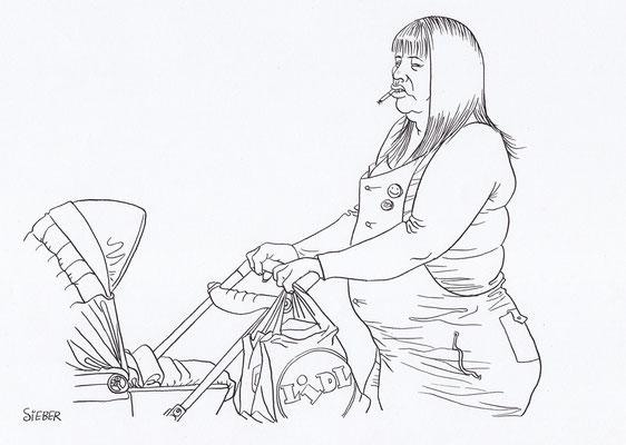 Zeichnung 166  Mutterglück   Tusche auf Karton,2009,   30 x 40 cm