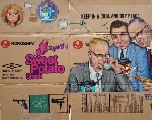 Gemälde 679,SWEET POTATOS,Acryl auf Verpackungskarton,2020,54 x 69 cm
