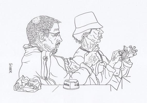 Zeichnung  105     Snack am Kanal    Tusche auf Karton,2008,   30 x  40 cm