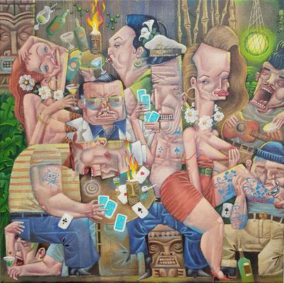 Gemälde 614, Kartenspiel & Getränke in Flammen im Schein des grünen Tiki Mondes,Acryl auf Leinwand, 2019, 50 x 50 cm