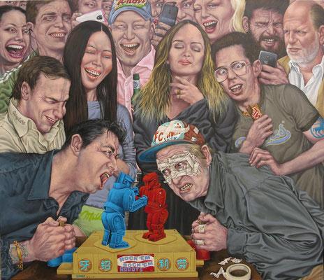 Gemälde 485, Der große Kampf, Acryl auf Leinwand,2015, 120 x 140 cm