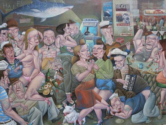 Gemälde  461 Masuren-Kaffee in der Haifischbar, Acryl auf Leinwand,2013,  110 x 145 cm