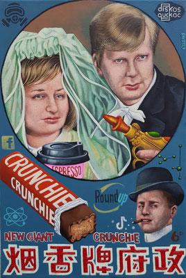 Gemälde 664,CRUNCHIE , Acryl auf Leinwand, 2020,60 x 40 cm