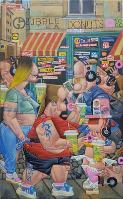 Gemälde 695,BUBBLE TEA DONUTS , Acryl /mixed media auf Leinwand, 2021, 65 x 40  cm
