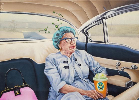 Gemälde 582 ,Backseat Lady , Acryl auf Leinwand, 2017, 40 x 55 cm