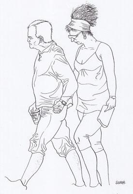 Zeichnung 189  Coffee To Go Tusche auf Karton,2009,   30 x 40 cm