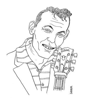 Zeichnung 264  Carl Perkins  Tusche auf Karton,2010, 25 x 32,5 cm